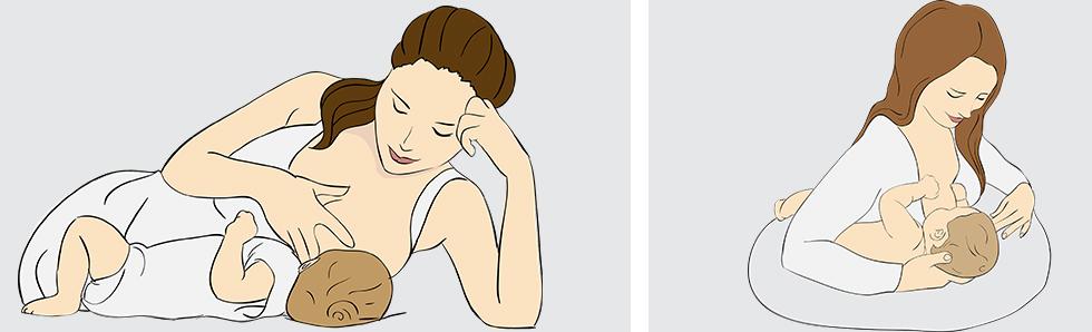 Sur le côté ou en ballon du rudgy, variez es positions pour allaiter votre bébé